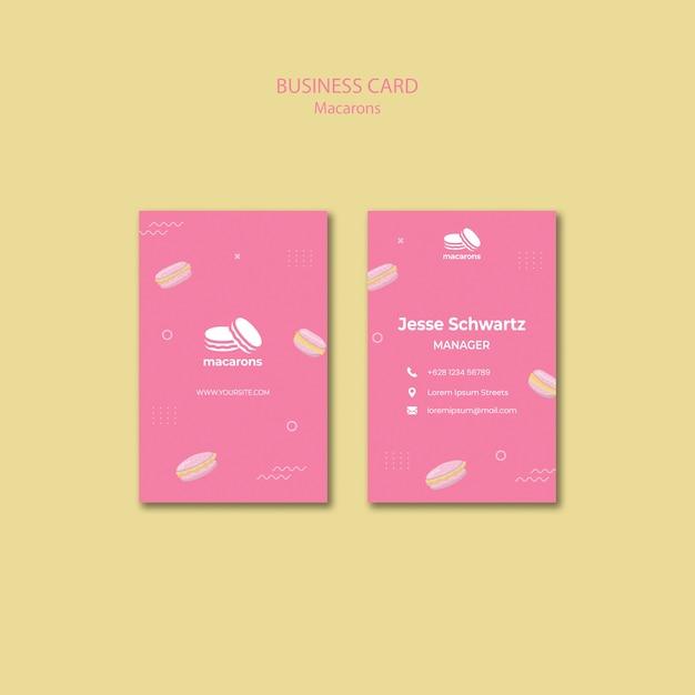 Modello di biglietto da visita con il concetto di macarons Psd Gratuite