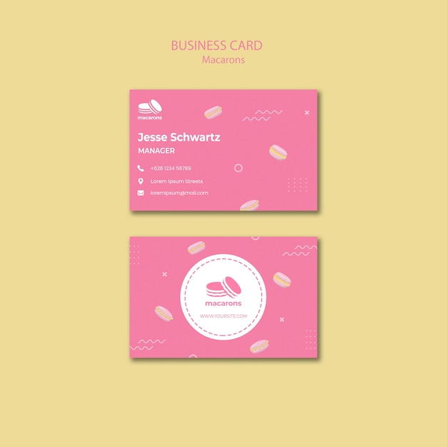 Business card template with macarons theme Free Psd