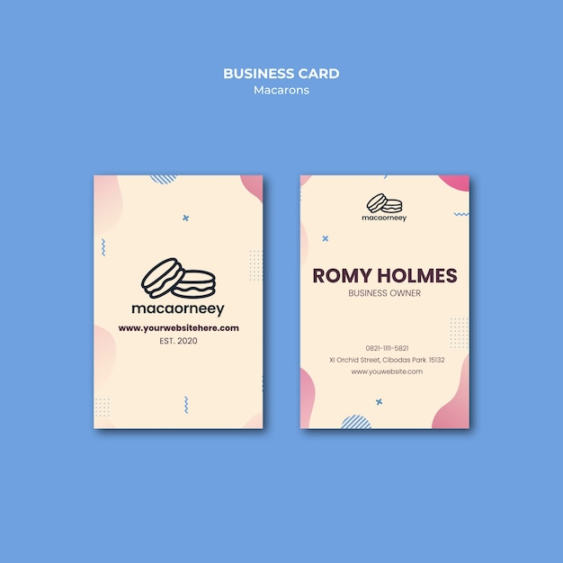 Business card template with macarons Free Psd