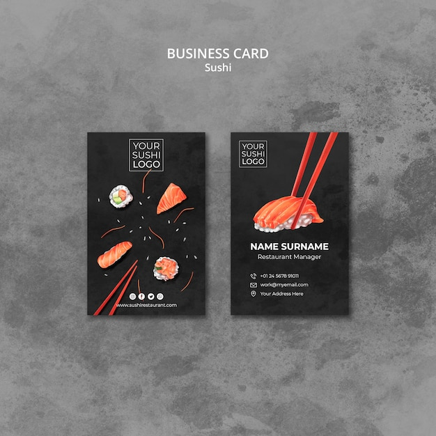 Business card template with sushi day theme Free Psd