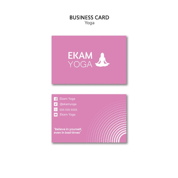 Business card template with yoga Free Psd