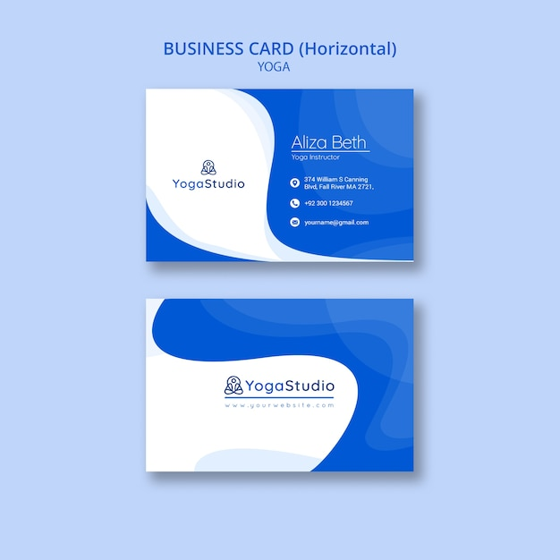 Business card template for yoga fitness Premium Psd