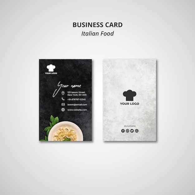 Business card for traditional italian food restaurant Free Psd