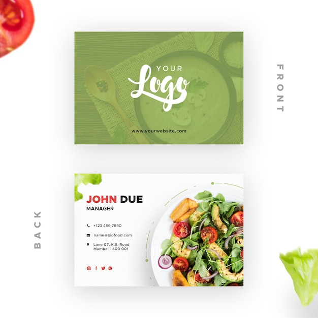 Business card with bio restaurant Free Psd