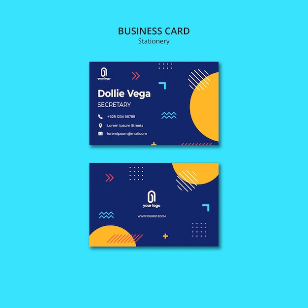 Business card with blue design and halves of circles Free Psd
