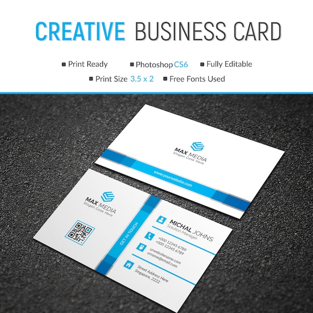 Business card with blue details Premium Psd