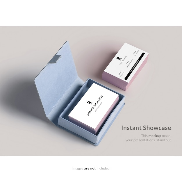 Business card with box mock up Free Psd