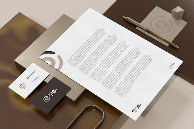 레터 헤드 문서 브랜딩 편지지 모형이있는 명함 프리미엄 PSD 파일