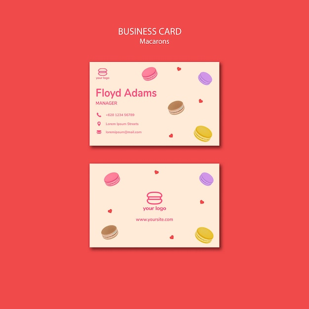 Business card with macarons Free Psd