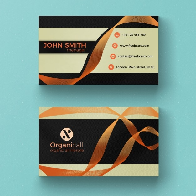 Business card with orange ribbon Free Psd