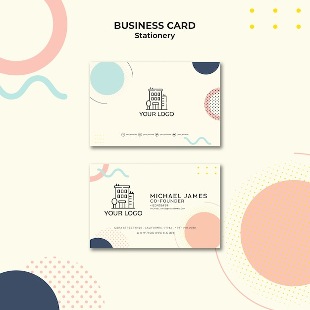 Business card with pastel-coloured memphis effect Free Psd