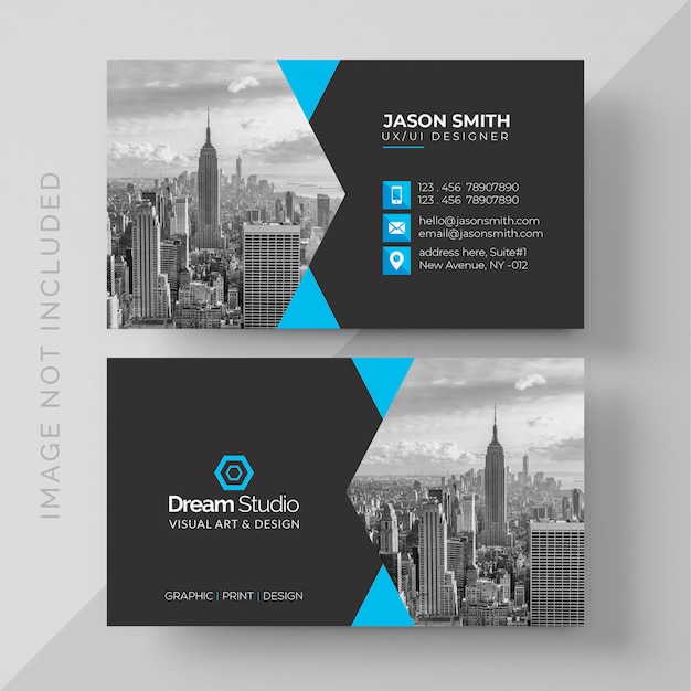 Business Card with photo of city Free Psd
