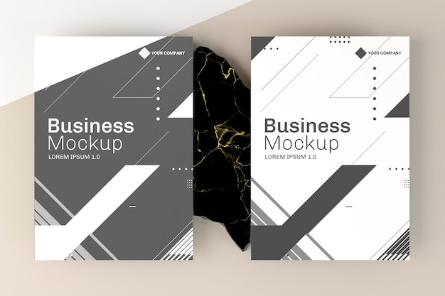 Business cards mock-up top view Free Psd