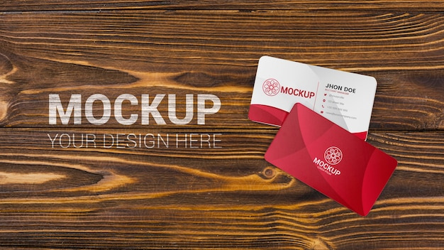 Business cards mock-up on wooden background Free Psd