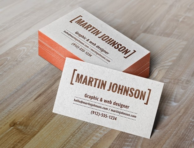 Business cards mockup with letterpress Free Psd
