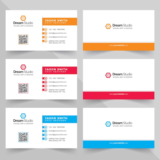 Business cards in various colors Premium Psd