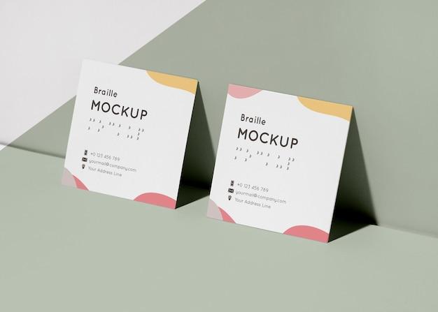 Визитные карточки с тисненым макетом шрифта брайля Бесплатные Psd