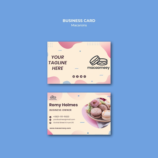Business cards with macarons Free Psd