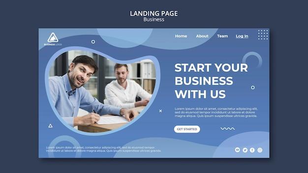 Business concept landing page design Free Psd