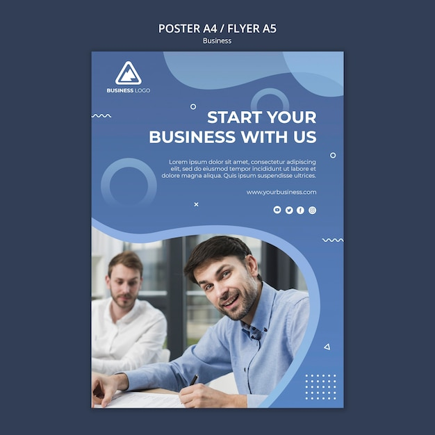 Business concept poster style Free Psd