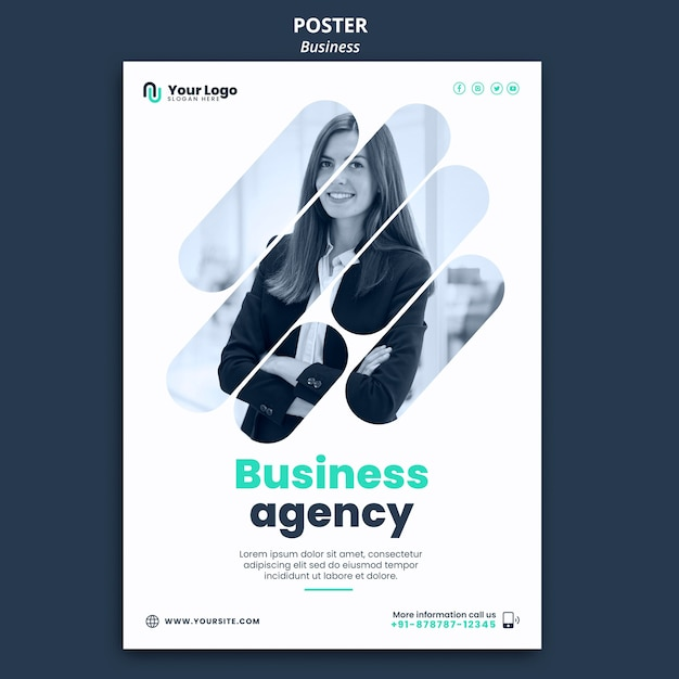 비즈니스 컨셉 포스터 템플릿 무료 PSD 파일