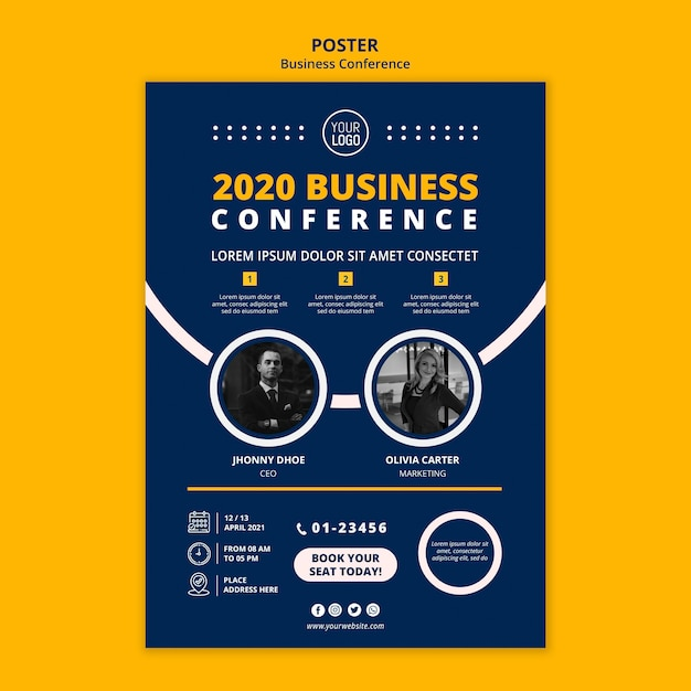 Business conference concept poster template Free Psd