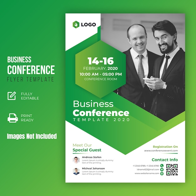 Business conference flyer template Premium Psd