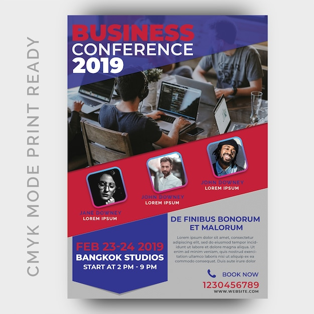 Business conference template for poster, flyer, magazine page Premium Psd