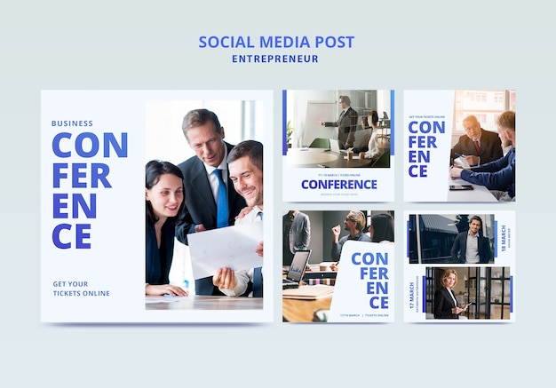 Business conference with template for flyer Free Psd