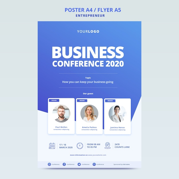 Business conference with template for poster Free Psd