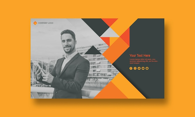 Business cover mockup with image Free Psd