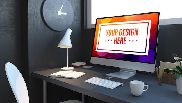 ネイビーブルーの3dレンダリングモックアップのコンピューターデスクトップでのビジネスデータ Premium Psd