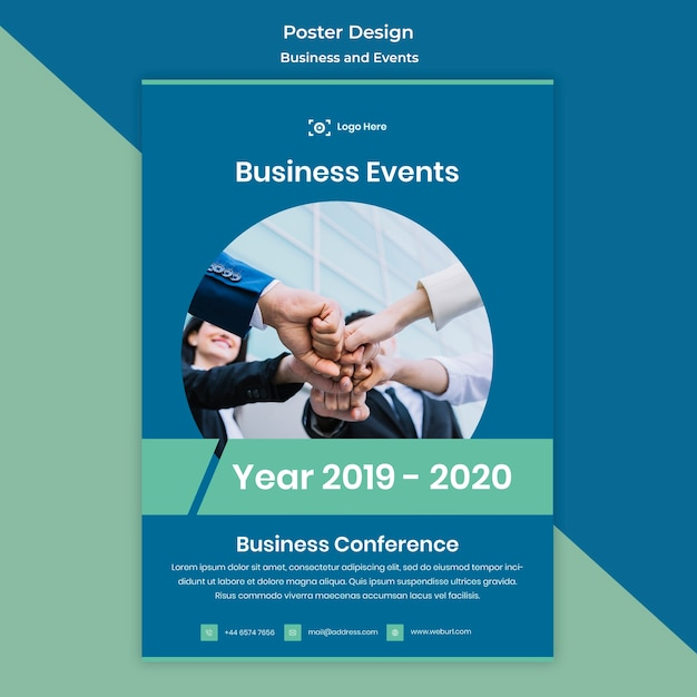 Business and events poster design template Free Psd