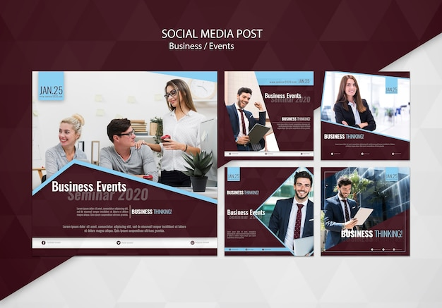 Business events social media post template Free Psd