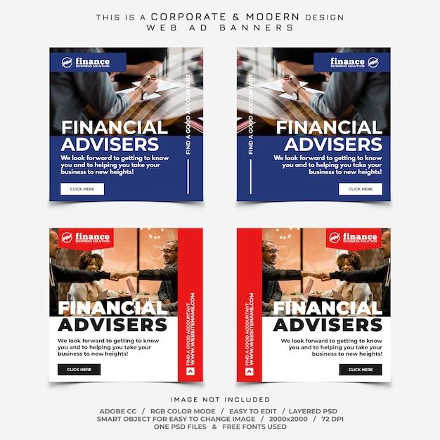 Business finance banner ads Premium Psd