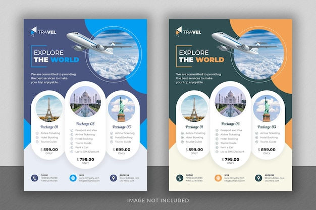Business flyer design and brochure cover page template for travel agency Premium Psd