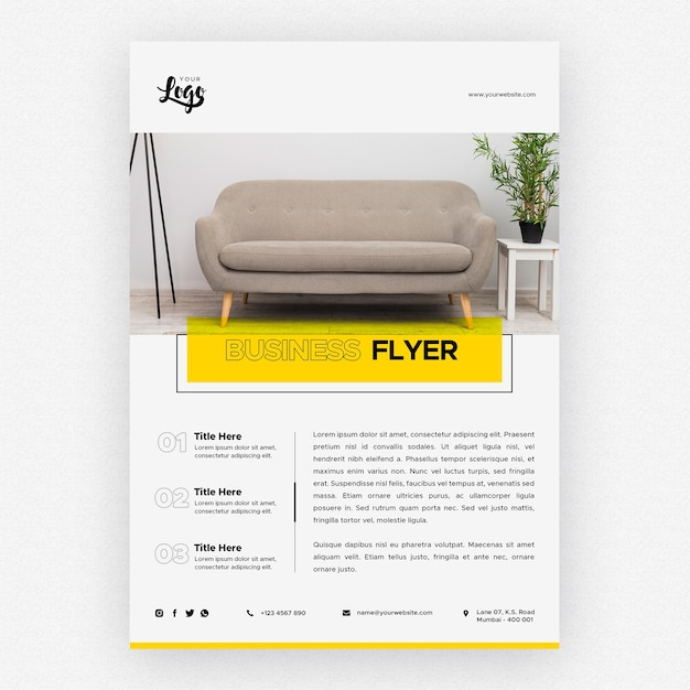 Business flyer template with couch in living room Free Psd