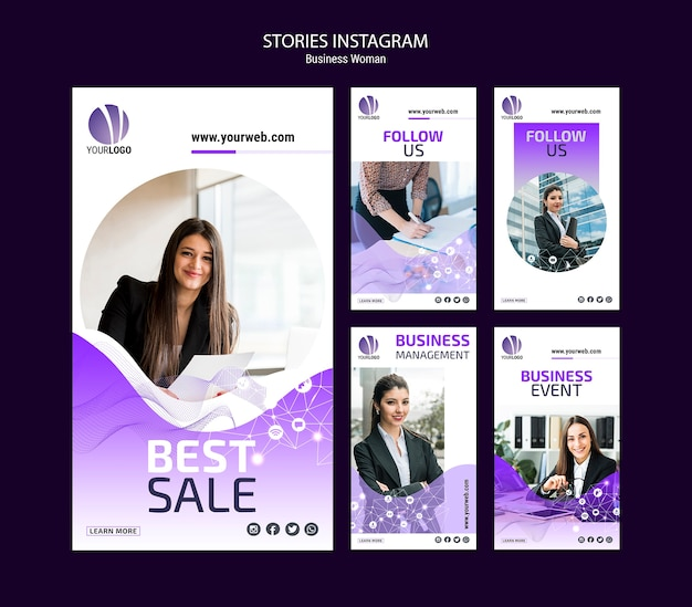 Business instagram stories pack Free Psd