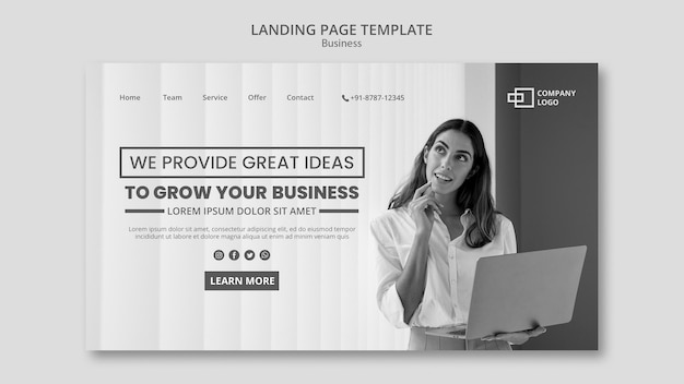 Business landing page Free Psd