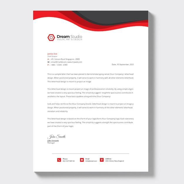 Business letterhead template Free Psd