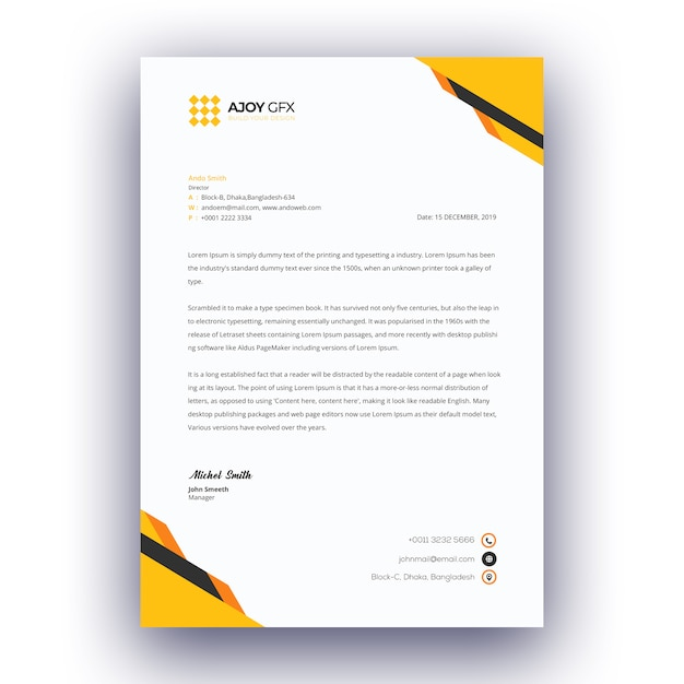 Psd Corporate Letterhead Template 000401: Business Letterhead Template PSD File