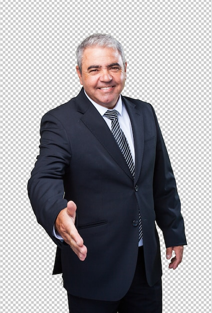 Business man greeting gesture Premium Psd