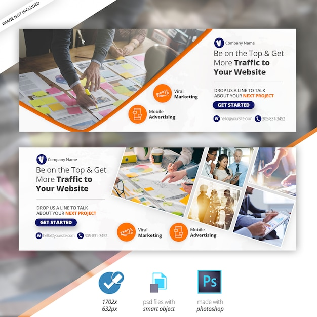 Business marketing facebook timeline cover banner Premium Psd