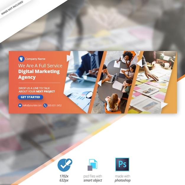 Business marketing facebook timeline cover banner PSD file