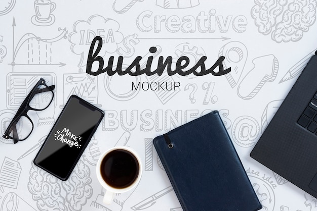 Business mock-up with devices and glasses Free Psd