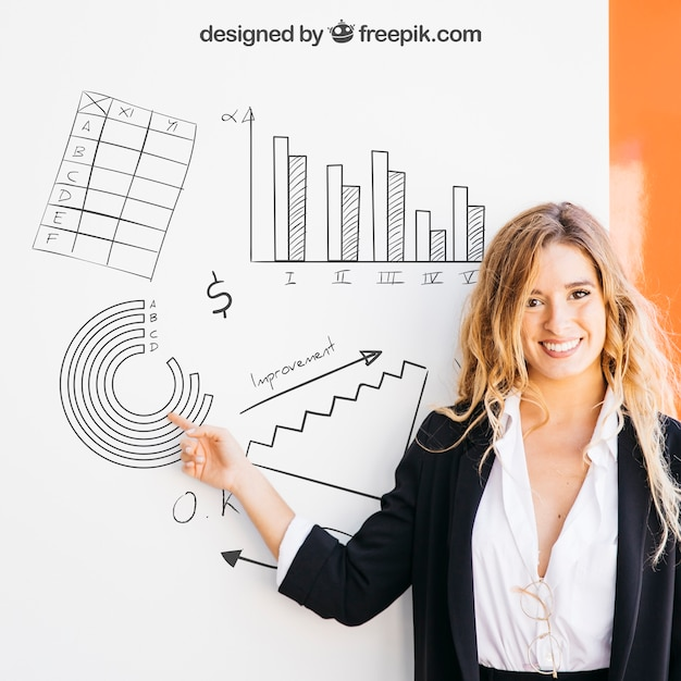 Business mockup with blonde woman pointing at board Free Psd