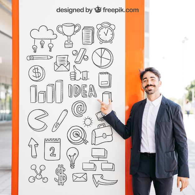 Business mockup with man in front of board Free Psd