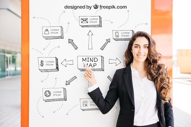 Business mockup with modern woman pointing at board Free Psd