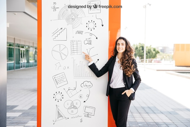 Business mockup with woman Free Psd