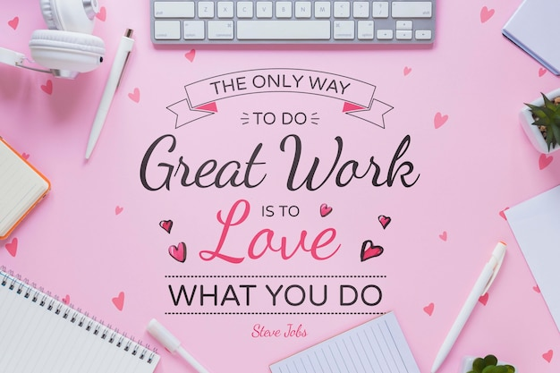 Business motivational message with office stuff frame Free Psd